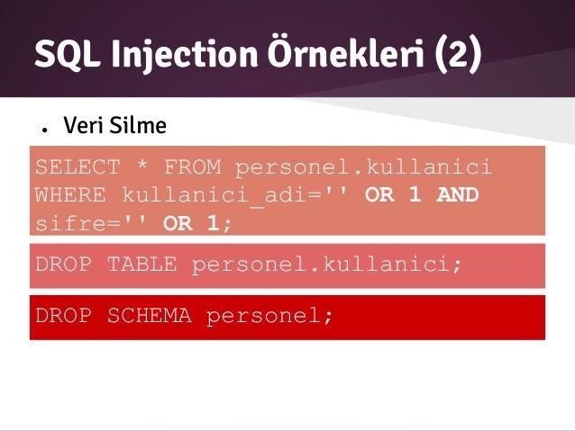 Web sald r teknikleri korunma y ntemleri - Sql injection drop table example ...
