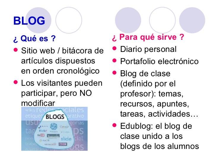 BLOG <ul><li>¿ Qué es ? </li></ul><ul><li>Sitio web / bitácora de artículos dispuestos en orden cronológico </li></ul><ul>...
