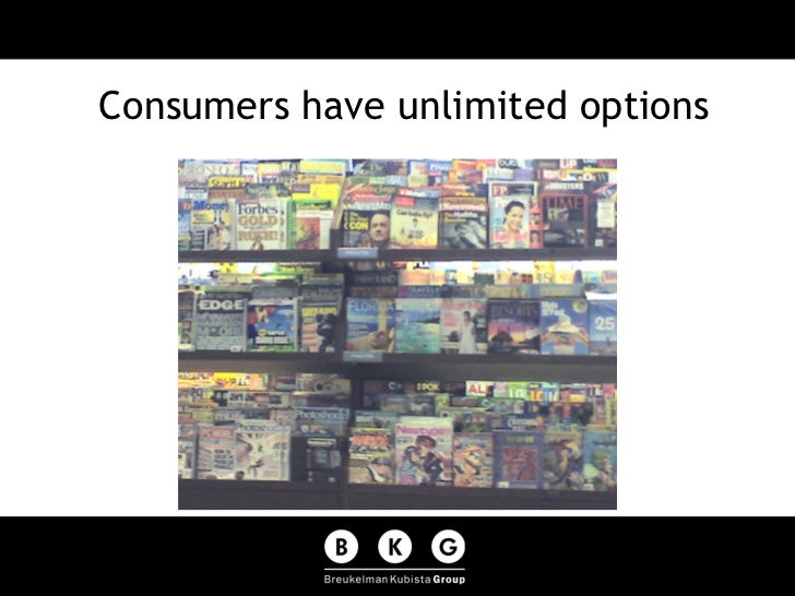 Consumers have unlimited options