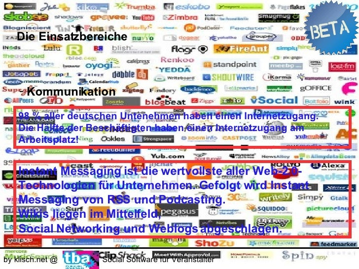 Die Einsatzbereiche        - Kommunikation         RSS     Podcasting     Wikis     Weblogs   by klisch.net @   Social Sof...