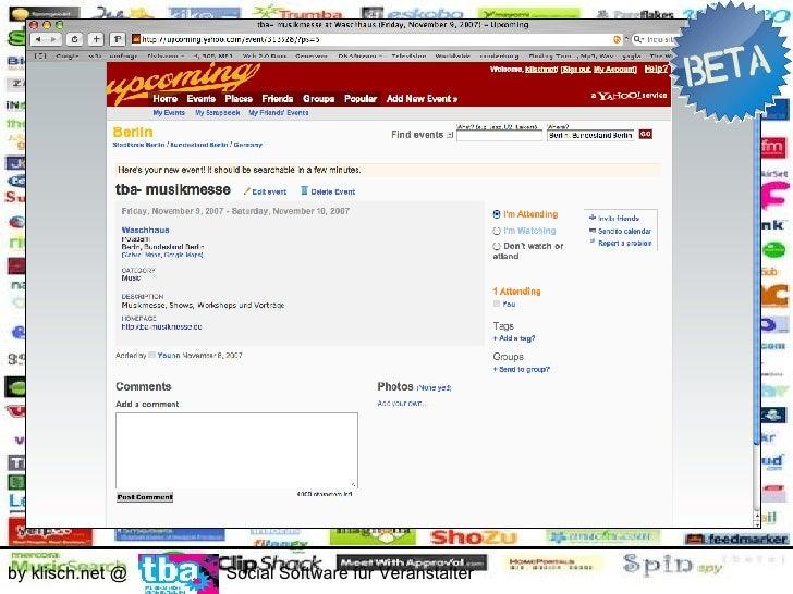 Die Einsatzbereiche        - Public Relation                        0€ by klisch.net @    Social Software für Veranstalter
