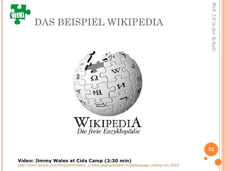 DAS BEISPIEL WIKIPEDIA Video: Jimmy Wales at Cida Camp (2:30 min) http://www.dotsub.com/films/jimmywales_1/index.php?autos...