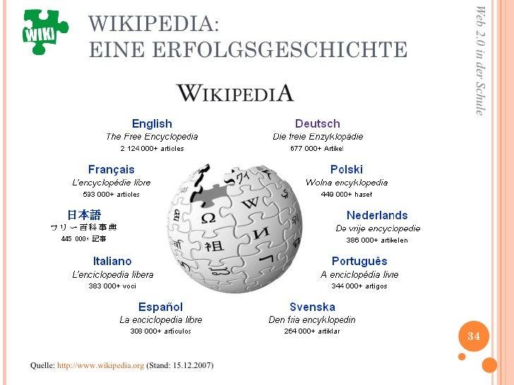 WIKIPEDIA:  EINE ERFOLGSGESCHICHTE Quelle:  http://www.wikipedia.org  (Stand: 15.12.2007)