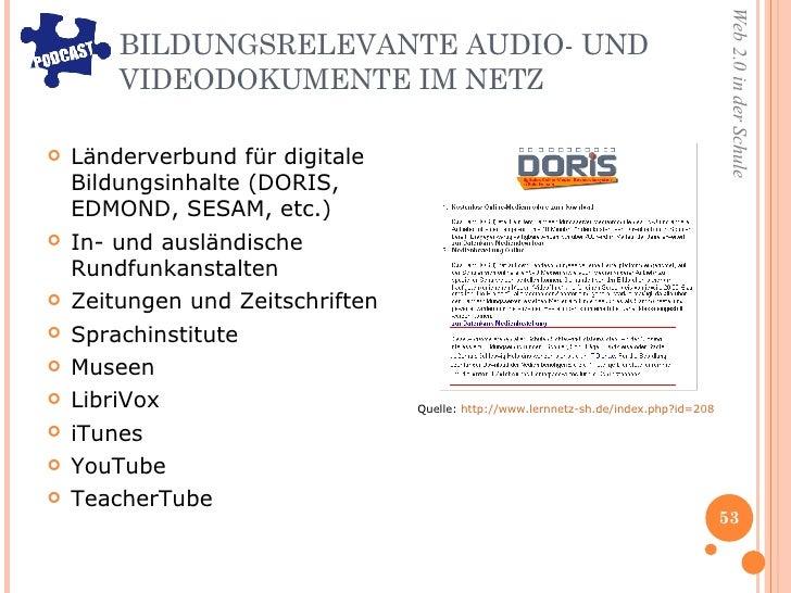 BILDUNGSRELEVANTE AUDIO- UND VIDEODOKUMENTE IM NETZ  <ul><li>Länderverbund für digitale Bildungsinhalte (DORIS, EDMOND, SE...