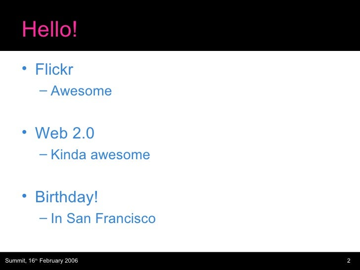 Web 2.0 Summit Flickr Slide 2