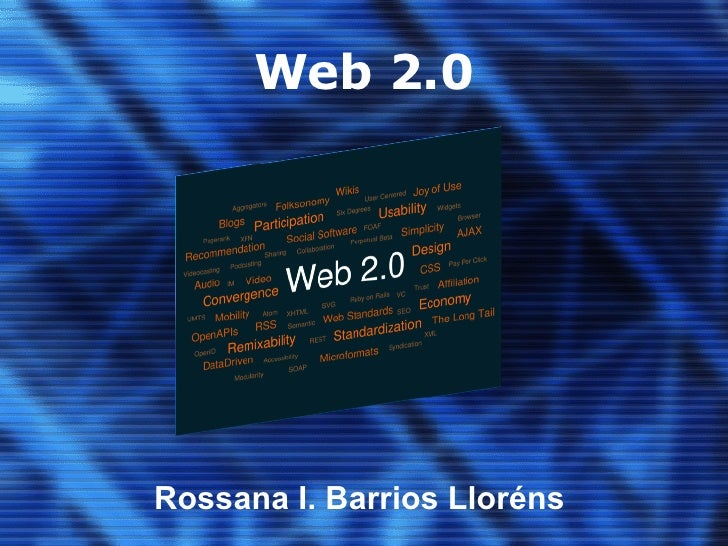 Web 2.0 Click to add subtitle Rossana I. Barrios Lloréns