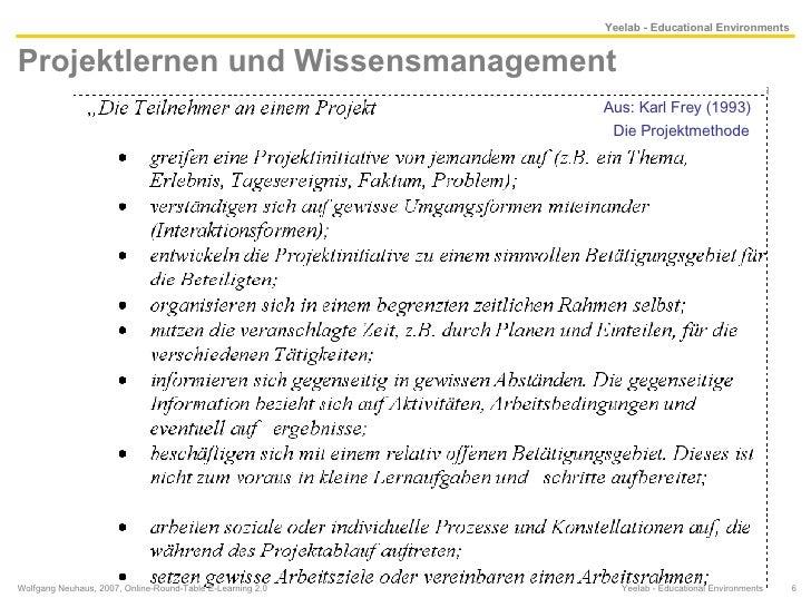 Projektlernen und Wissensmanagement  Wolfgang Neuhaus, 2007, Online-Round-Table E-Learning 2.0  Yeelab - Educational Envir...