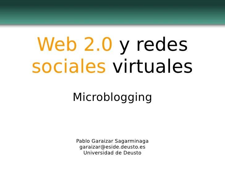 Web 2.0 y redes sociales virtuales     Microblogging       Pablo Garaizar Sagarminaga      garaizar@eside.deusto.es       ...