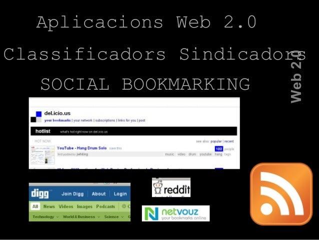 Aplicacions Web 2.0 Web2.0 Classificadors Sindicadors SOCIAL BOOKMARKING