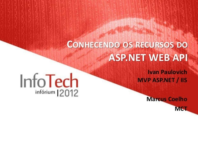 CONHECENDO OS RECURSOS DO        ASP.NET WEB API                Ivan Paulovich              MVP ASP.NET / IIS             ...