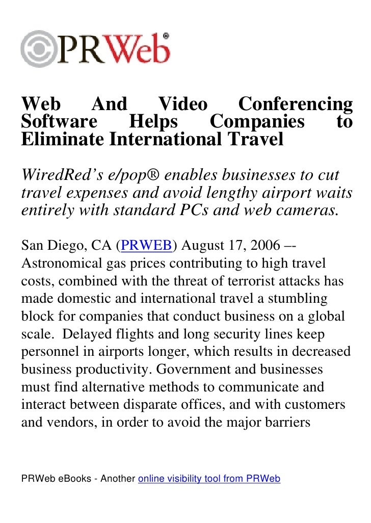 Web    And      Video    Conferencing Software    Helps     Companies    to Eliminate International Travel WiredRed's e/po...
