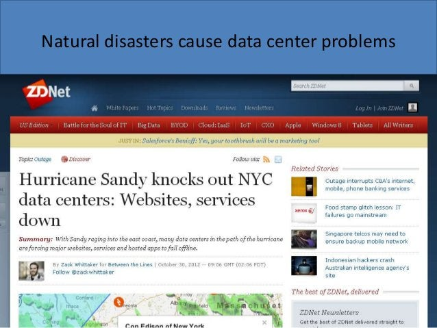 Natural disasters cause data center problems