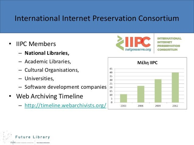 International Internet Preservation Consortium • IIPC Members – – – – –  National Libraries, Academic Libraries, Cultural ...