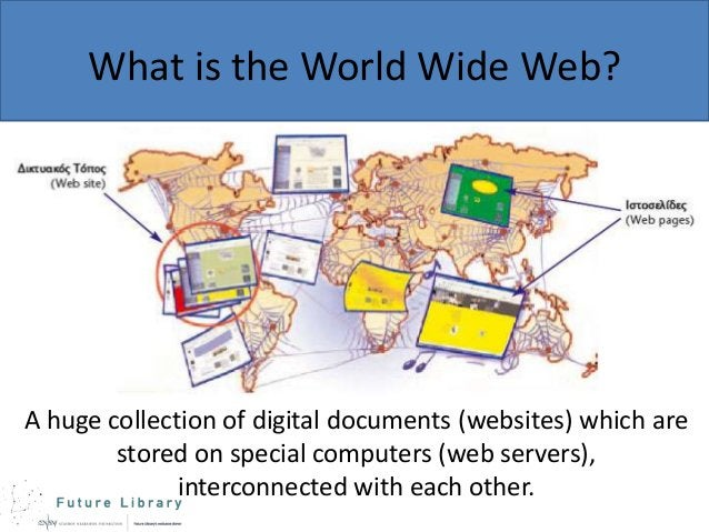 What is the World Wide Web?  A huge collection of digital documents (websites) which are stored on special computers (web ...