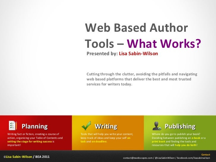 © Lisa Sabin-Wilson  / BEA 2011 Web Based Author Tools –  What Works? Cutting through the clutter, avoiding the pitfalls a...