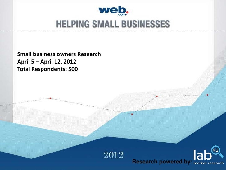 Small business owners ResearchApril 5 – April 12, 2012Total Respondents: 500                                 Research powe...