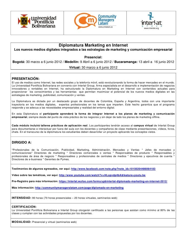 Diplomatura Marketing en Internet Los nuevos medios digitales integrados a las estrategias de marketing y comunicación emp...