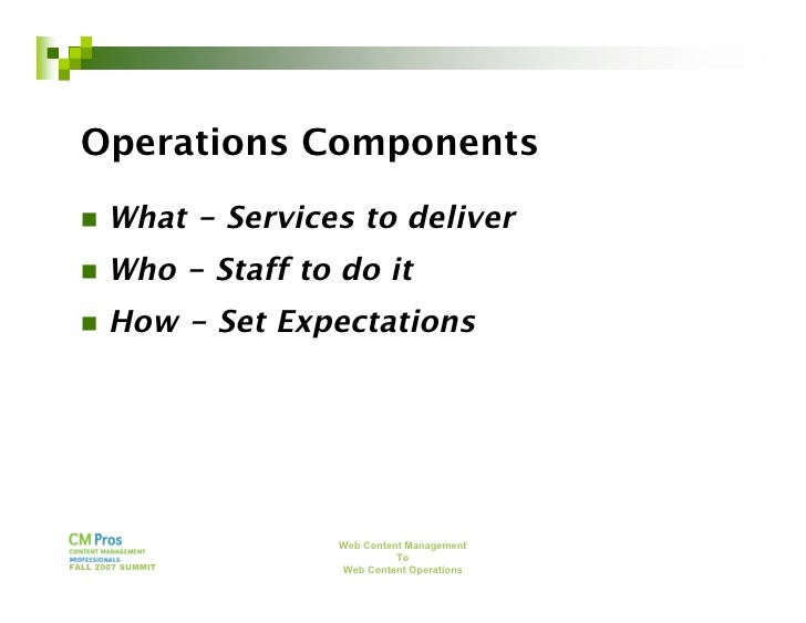 Web Content Management to Web Content Operations