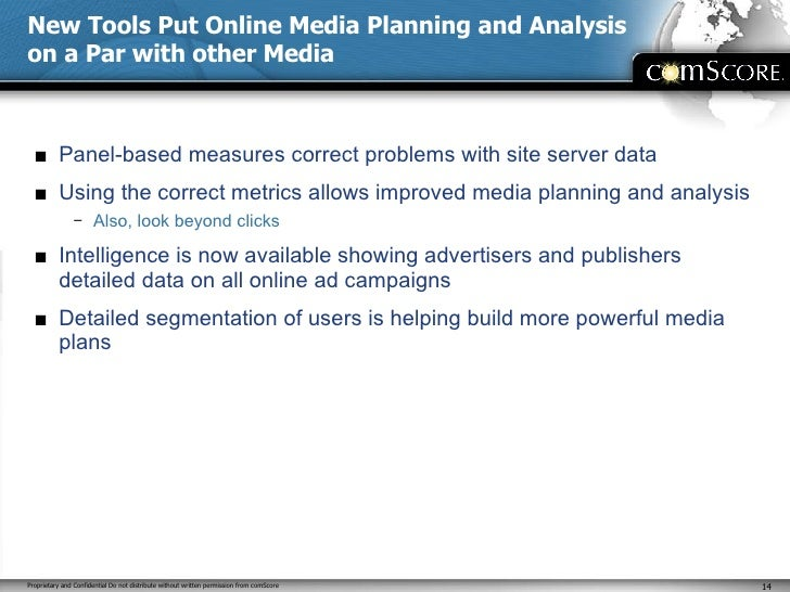 New Tools Put Online Media Planning and Analysis on a Par with other Media <ul><li>Panel-based measures correct problems w...