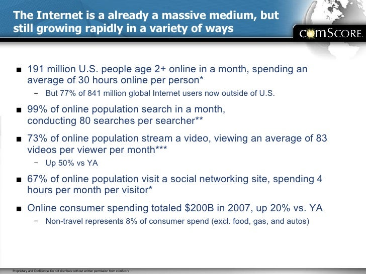 The Internet is a already a massive medium, but still growing rapidly in a variety of ways <ul><li>191 million U.S. people...