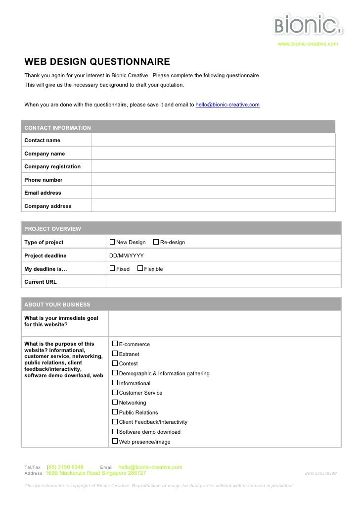 Web Design Questionnaire Template. 45 incredibly useful web design ...