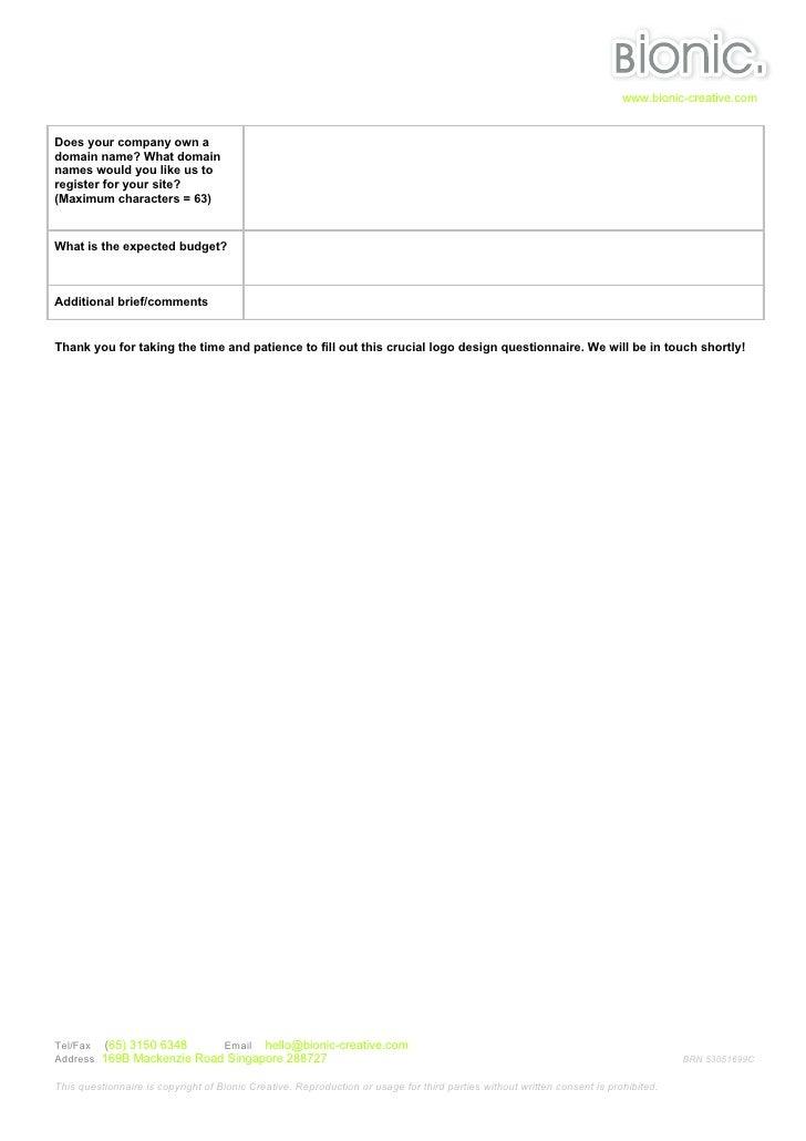 Character Design Questionnaire : Web design questionnaire