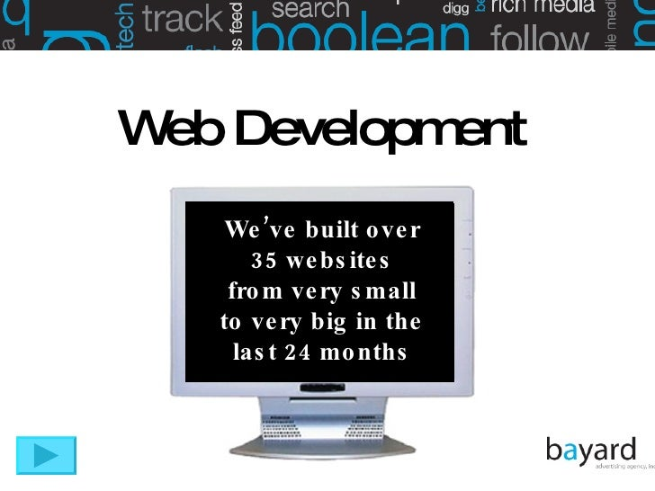 We've built over 35 websites from very small to very big in the last 24 months Web Development