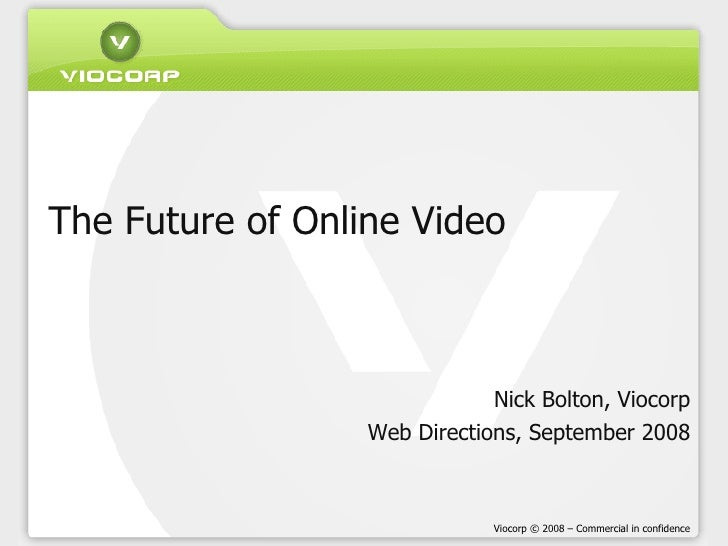 The Future of Online Video Nick Bolton, Viocorp Web Directions, September 2008