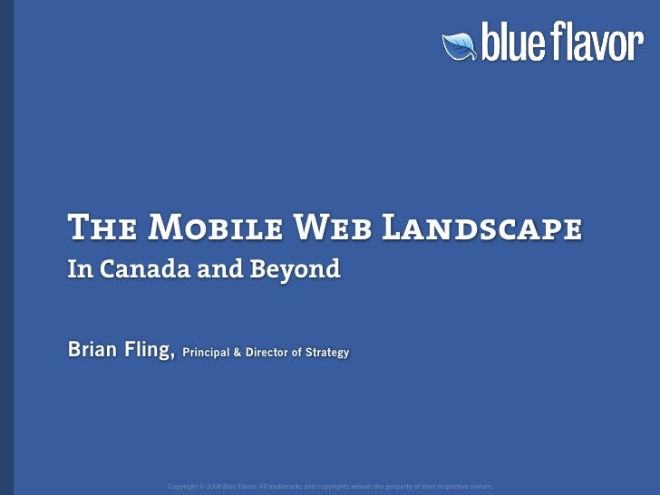 The Mobile Web Landscape In Canada and Beyond  Brian Fling,   Principal  Director of Strategy                Copyright © 2...