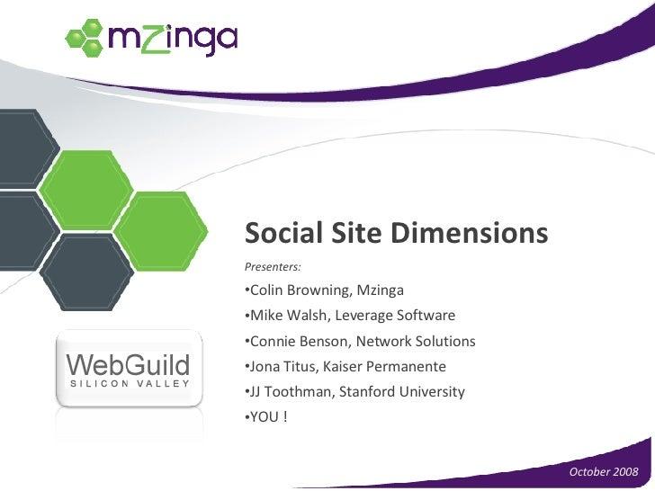 Social Site Dimensions <ul><li>Presenters: </li></ul><ul><li>Colin Browning, Mzinga </li></ul><ul><li>Mike Walsh, Leverage...