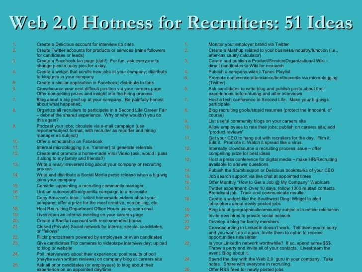Web 2.0 Hotness for Recruiters: 51 Ideas <ul><li>Create a Delicious account for interview tip sites </li></ul><ul><li>Crea...