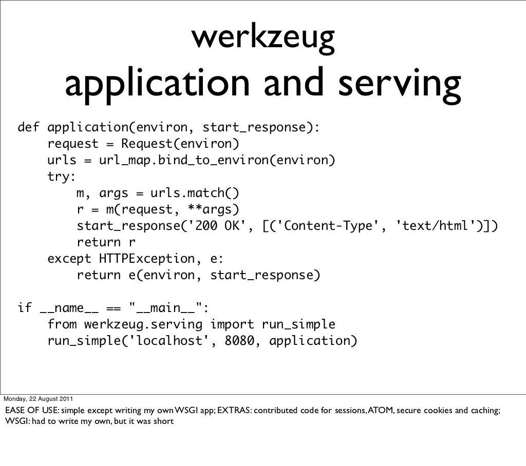 werkzeug application and serving def