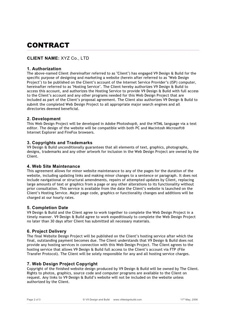 Web Project Agreement Formdoc – Project Development Agreement