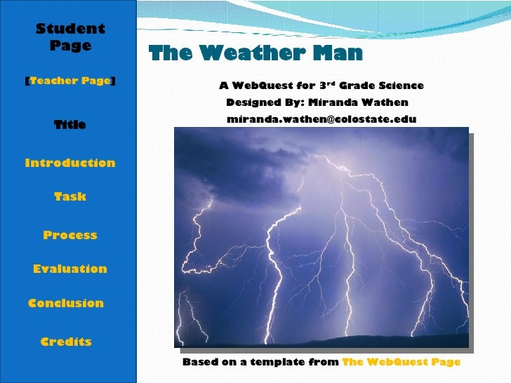 The Weather Man Student Page Title Introduction Task Process Evaluation Conclusion Credits [ Teacher Page ] A WebQuest for...