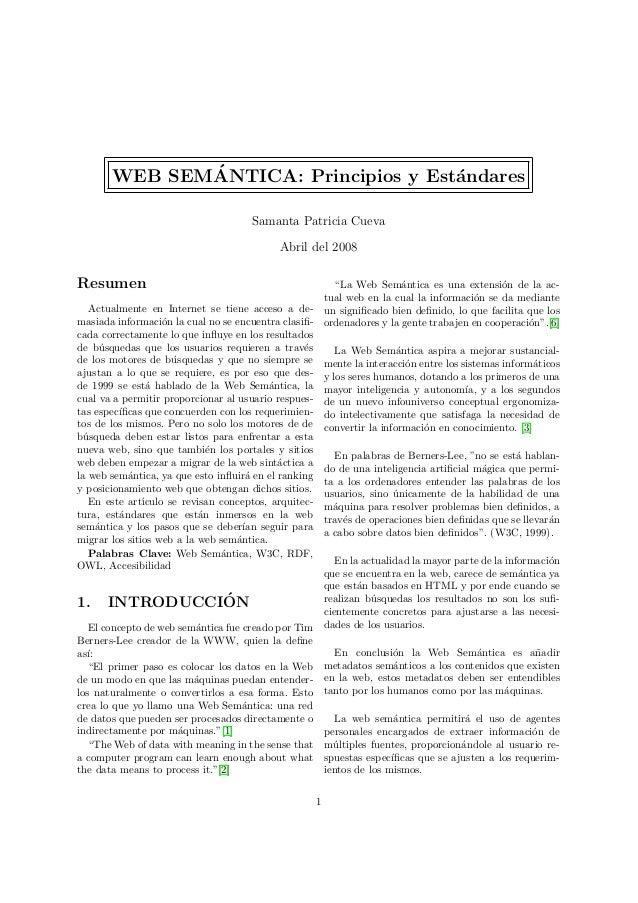 ´       WEB SEMANTICA: Principios y Est´ndares                                      a                                     ...