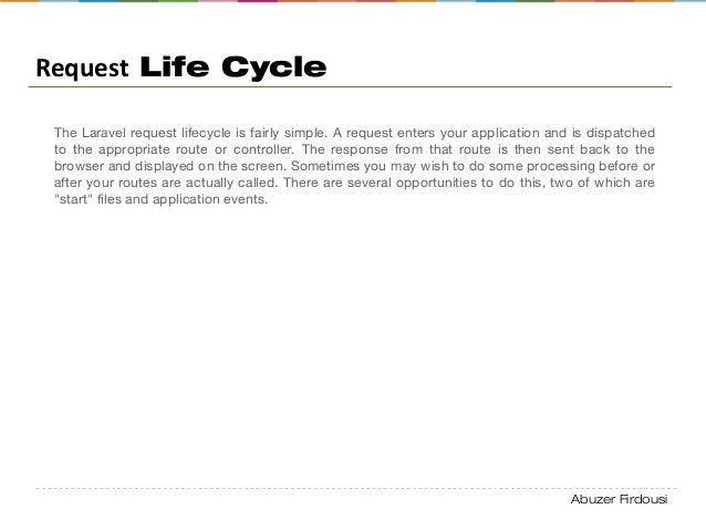 Abuzer Firdousi Request Life Cycle The Laravel request lifecycle is fairly simple. A request enters your application and i...