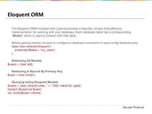Abuzer Firdousi Eloquent ORM The Eloquent ORM included with Laravel provides a beautiful, simple ActiveRecord implementati...