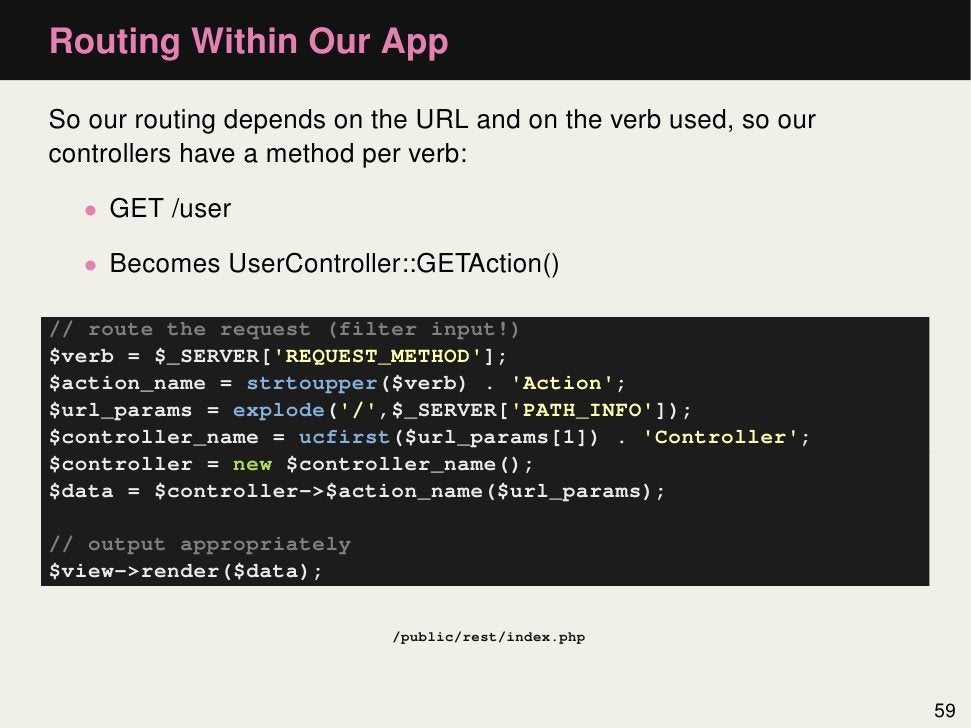 Routing Within Our AppSo our routing depends on the URL and on the verb used, so ourcontrollers have a method per verb:  •...