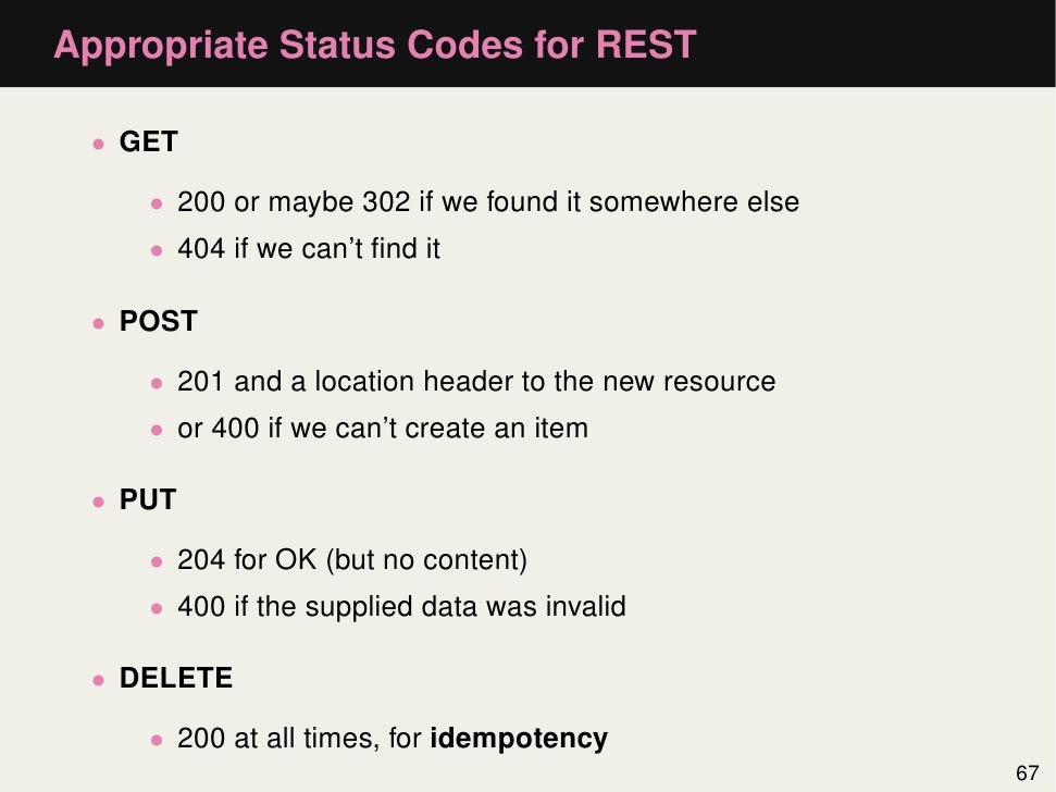 Appropriate Status Codes for REST • GET    • 200 or maybe 302 if we found it somewhere else    • 404 if we can't find it • ...