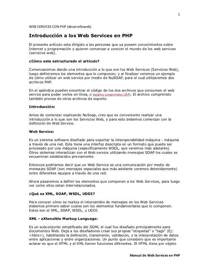 1WEB SERVICES CON PHP (desarrolloweb)Introducción a los Web Services en PHPEl presente artículo esta dirigido a las person...