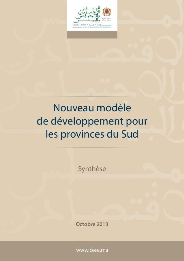 Nouveau modèle de développement pour les provinces du Sud Synthèse  Octobre 2013  www.cese.ma