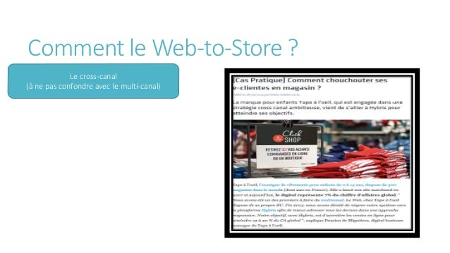 Comment le Web-to-Store ? (le Web-In- Store) Source : Aruconetwork
