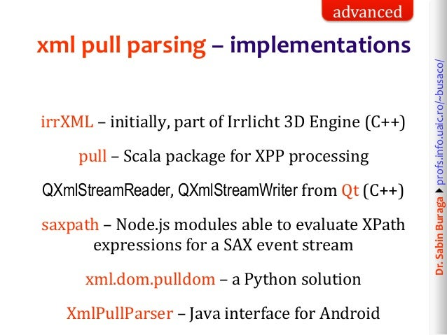 Web Technologies (8/12): XML & HTML Data Processing  Simple API for X…