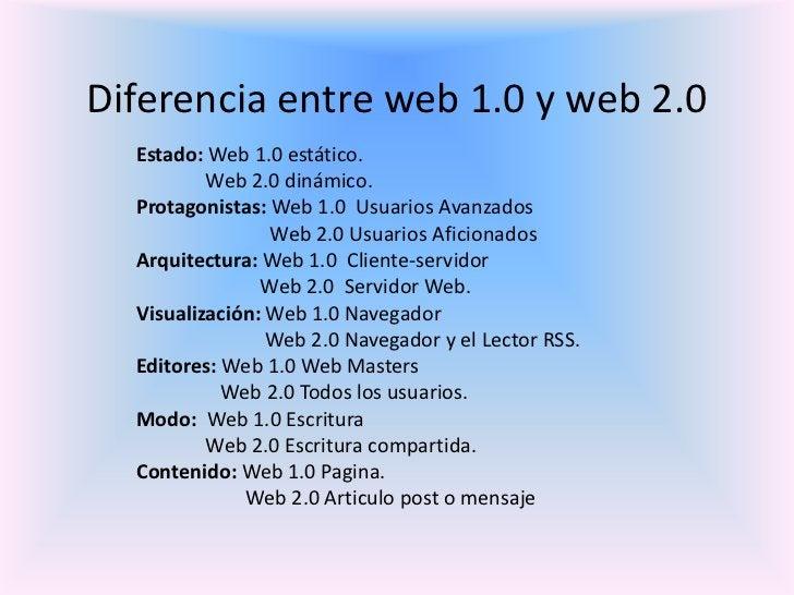 Diferencia entre web 1.0 y web 2.0  Estado: Web 1.0 estático.          Web 2.0 dinámico.  Protagonistas: Web 1.0 Usuarios ...