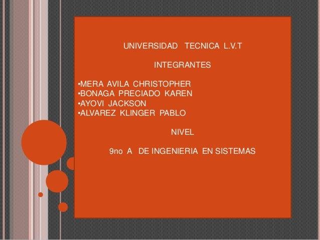 UNIVERSIDAD TECNICA L.V.T INTEGRANTES •MERA AVILA CHRISTOPHER •BONAGA PRECIADO KAREN •AYOVI JACKSON •ALVAREZ KLINGER PABLO...