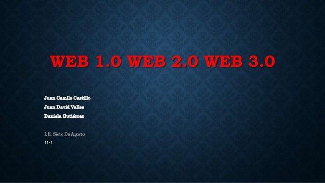 WEB 1.0 WEB 2.0 WEB 3.0 Juan Camilo Castillo Juan David Valles Daniela Gutiérrez I.E. Siete De Agosto 11-1