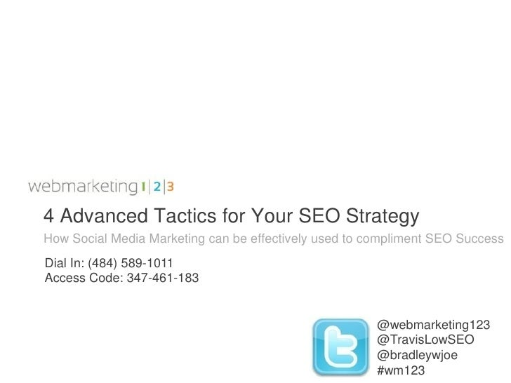 4 Advanced Tactics for Your SEO StrategyHow Social Media Marketing can be effectively used to compliment SEO SuccessDial I...