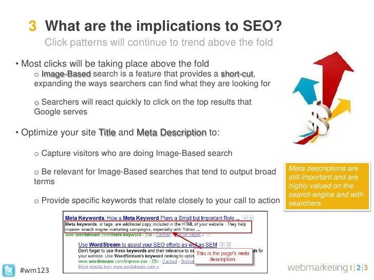 3 What are the implications to SEO?       Click patterns will continue to trend above the fold• Most clicks will be taking...
