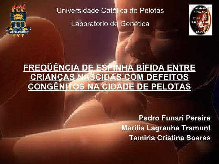 FREQÜÊNCIA DE ESPINHA BÍFIDA ENTRE CRIANÇAS NASCIDAS COM DEFEITOS CONGÊNITOS NA CIDADE DE PELOTAS Pedro Funari Pereira Mar...