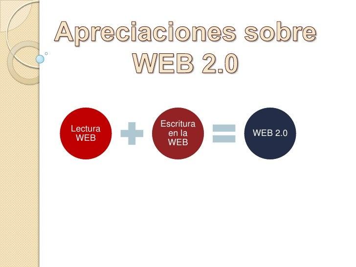 Apreciaciones sobre<br />WEB 2.0<br />